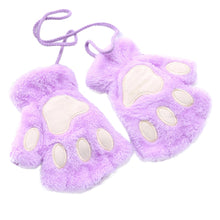 Load image into Gallery viewer, Cat Dog Paw Hands Animal Womens Girls Fleece Gloves