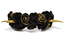 Load image into Gallery viewer, Demon Horns Headband - black & gold