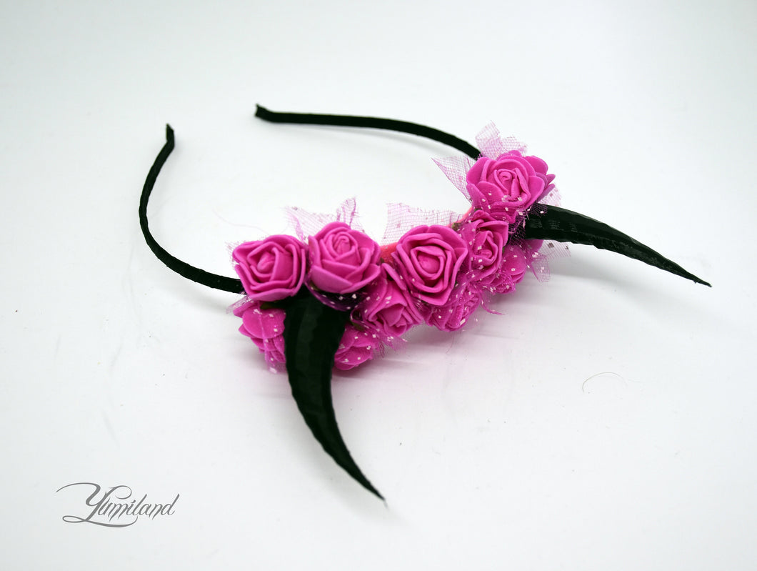 Demon Horns Headband - hot pink