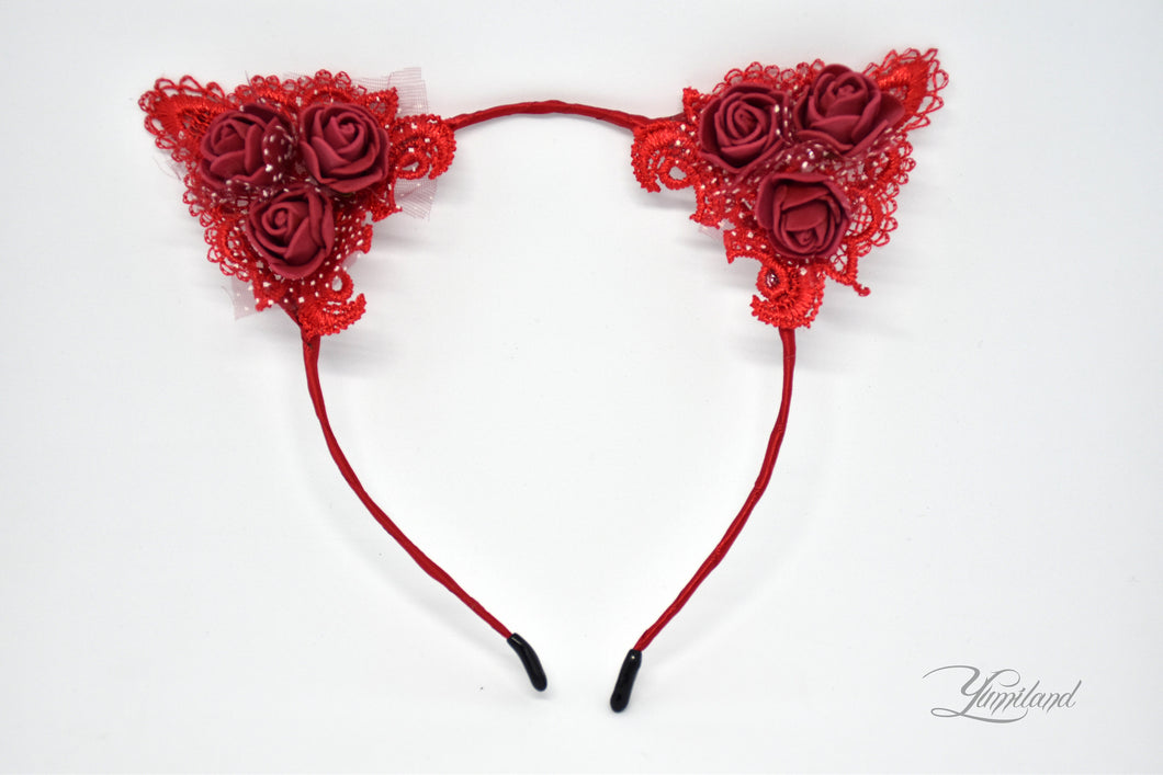 Huge cute red lace cat ears - realistic kitten cosplay