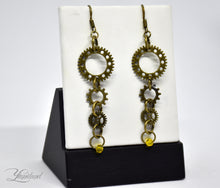 Load image into Gallery viewer, Handmade copper steampunk earrings with gears and cogs - Madelyn