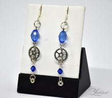 Load image into Gallery viewer, Handmade copper steampunk earrings with gears and cogs - Liliana