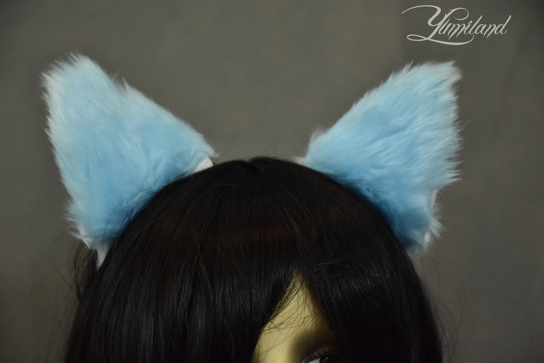 Huge cute blue cat ears - realistic kitten cosplay
