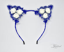 Load image into Gallery viewer, Huge cute blue lace cat ears - realistic kitten cosplay