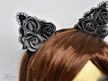 Load image into Gallery viewer, Huge cute black lace cat ears - realistic cosplay