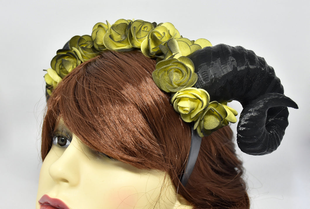 Demon Ram Horns Headband - dark yellow