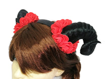 Load image into Gallery viewer, Demon Ram Horns Headband - red black