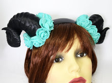 Load image into Gallery viewer, Demon Ram Horns Headband - black & teal