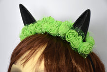 Load image into Gallery viewer, Cute cat ears with green flowers