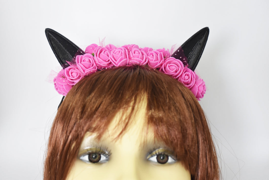 Cute cat ears with pink flowers