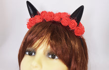 Load image into Gallery viewer, Cute cat ears with red flowers