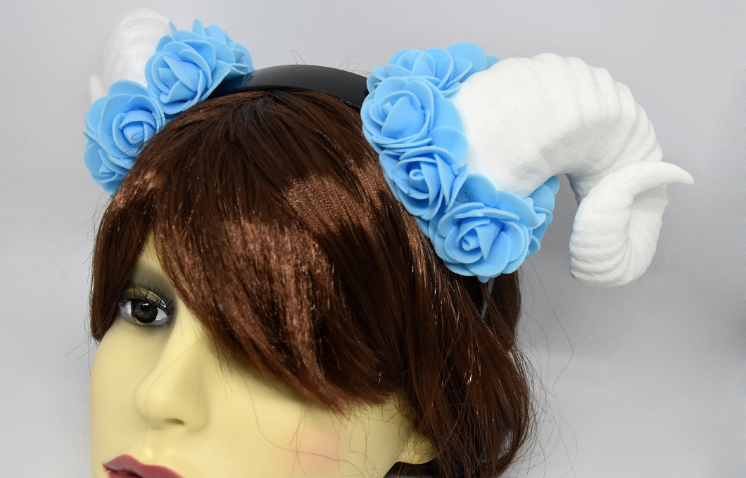Demon Ram Horns Headband - white & blue