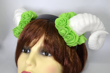 Load image into Gallery viewer, Demon Ram Horns Headband - white & green