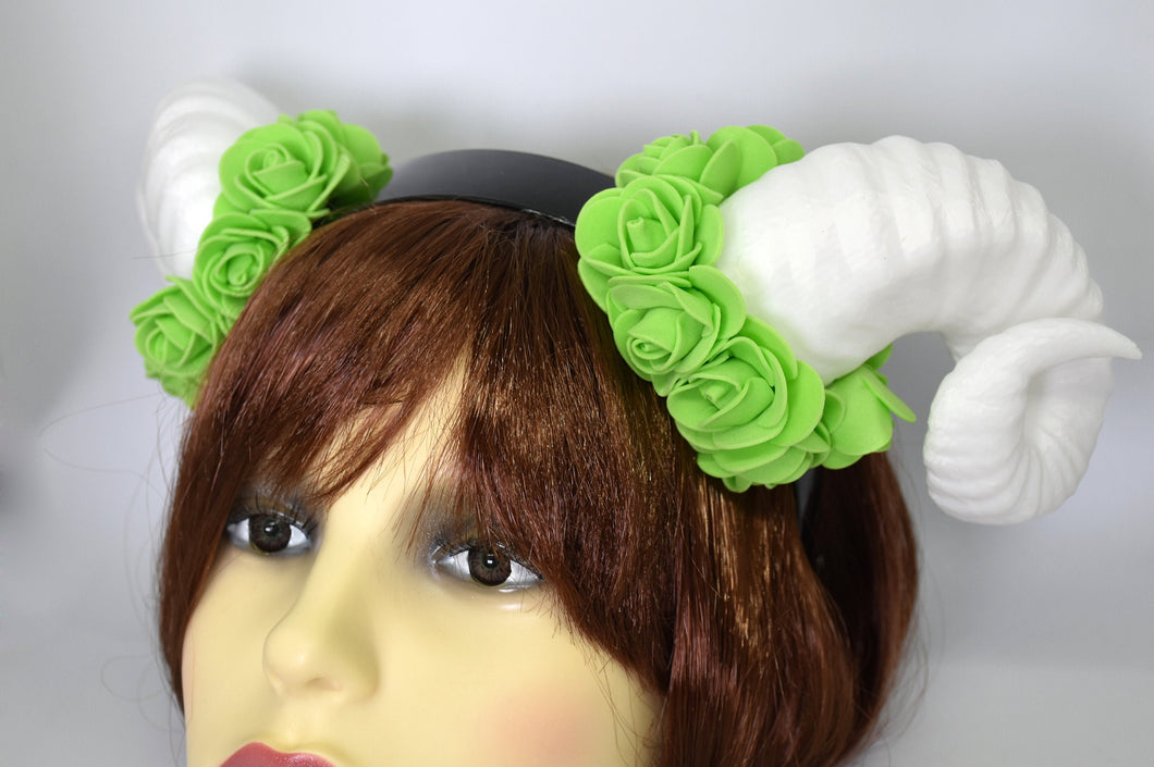 Demon Ram Horns Headband - white & green