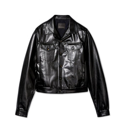 Marni Men's Faux Leather Trucker Jacket (Black)