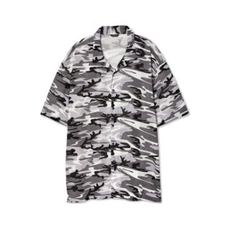 Balenciaga Mens Camo Mesh Oversized Vacation Shirt (Black/White)