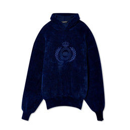 Balenciaga Mens BB Knit Hoodie (Midnight Blue)