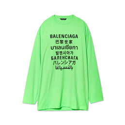 Balenciaga Mens Languages Oversized L/S Tee (Neon Green)