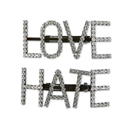 Ashley Williams Giant Love Hate Hairpins (Crystal)