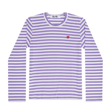 Play Colour Series Little Red Heart Striped Long-sleeved T-Shirt (Purple/White)