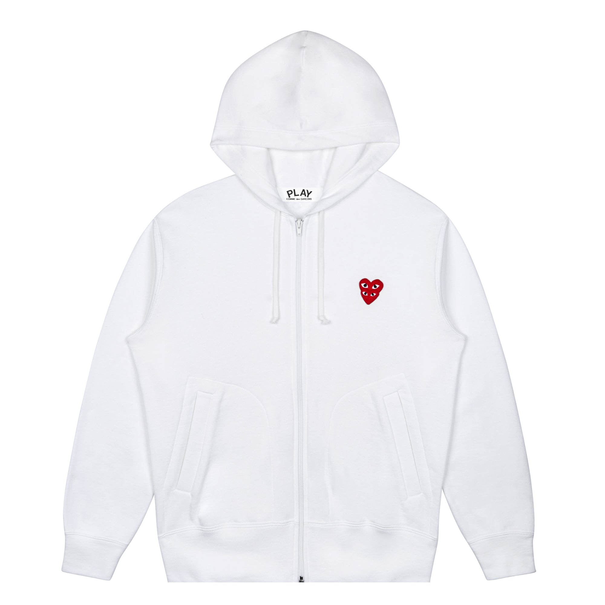 Play Comme des Garçons Hooded Sweatshirt with Double Red Heart (White)