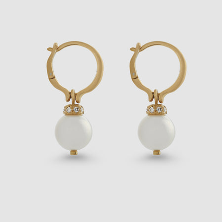 Hum Silver Lip Pearl Hoop Earrings