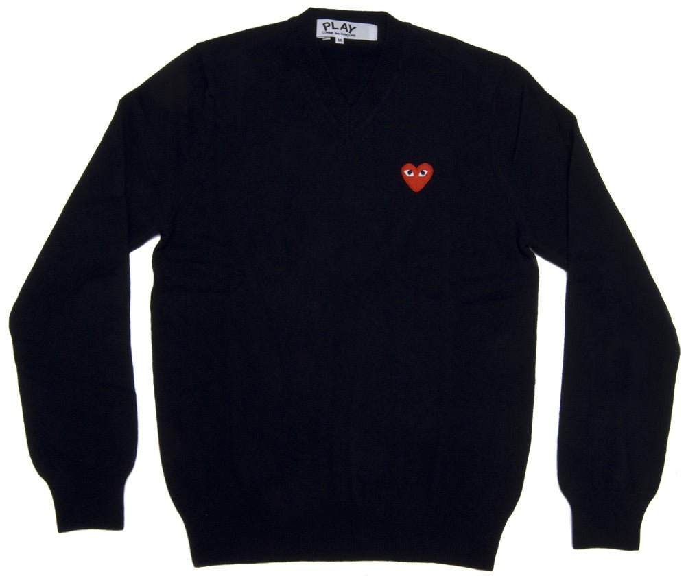 Red Play V Neck Sweater (Black)