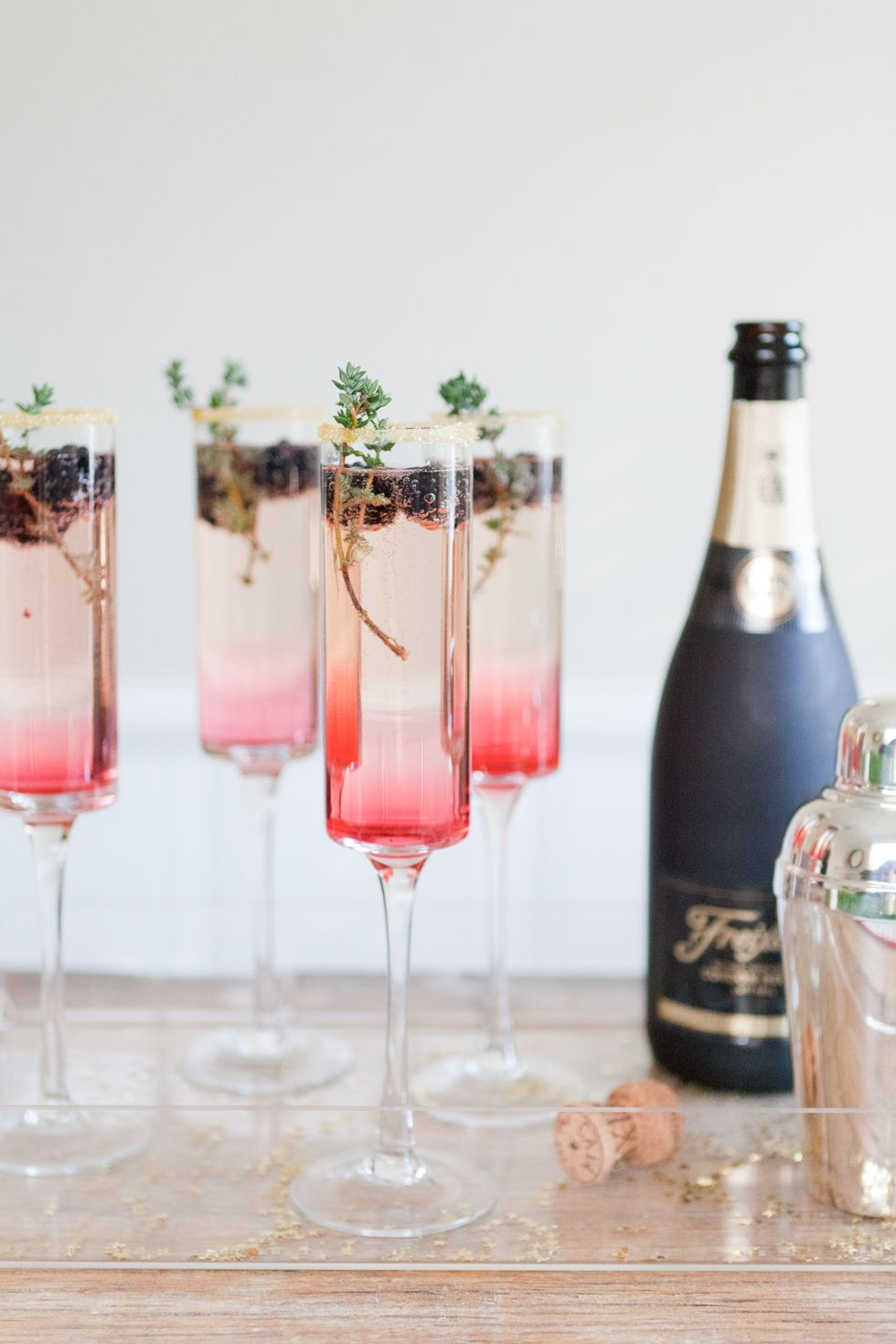 Blackberry Thyme Sparkler Champagne Cocktail