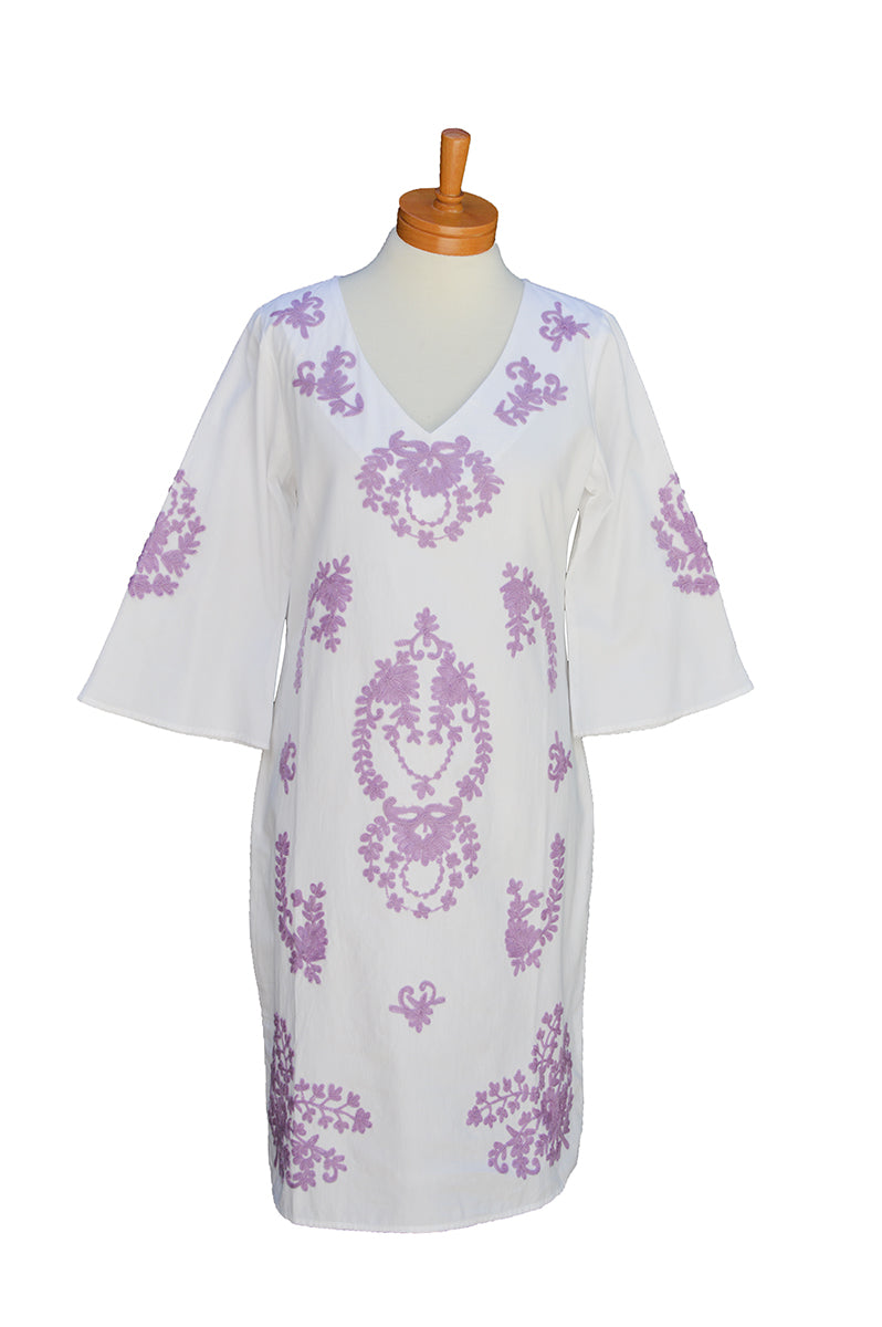 Lilac Embroidered  Caftan