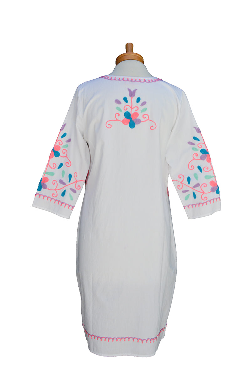 Neon Bird Embroidery  Caftan