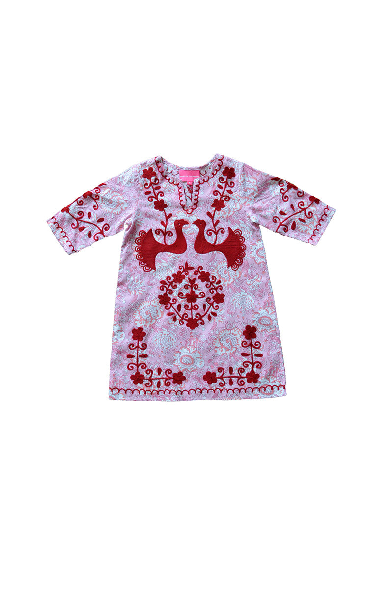 Girls Mexican Bird Caftan Dress