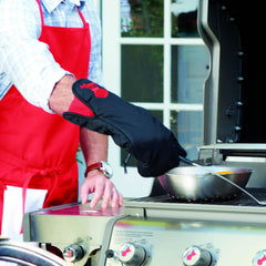 Weber 6532 Black With Red Kettle Cotton Grill Glove With Extra Long Cuff