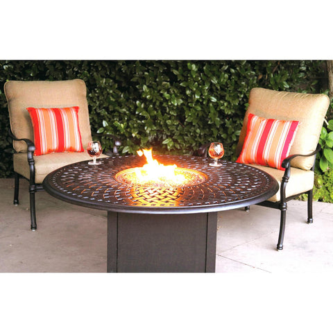 Darlee Florence 3 Piece Cast Aluminum Patio Fire Pit Conversation Seating Set - Antique Bronze