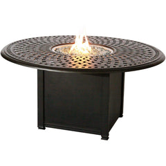 Darlee Florence 3 Piece Cast Aluminum Patio Fire Pit Conversation Seating Set - Mocha