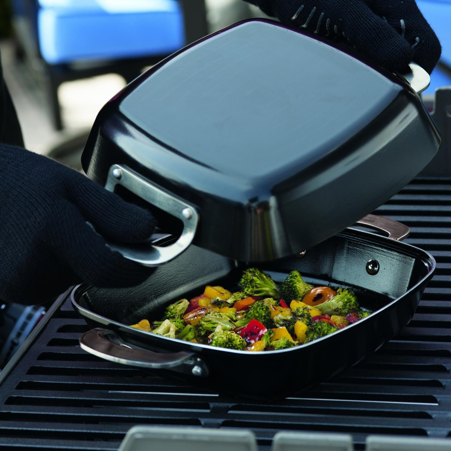Weber 6732 Deluxe Ceramic-Coated Grill Pan Set - 2-Pieces