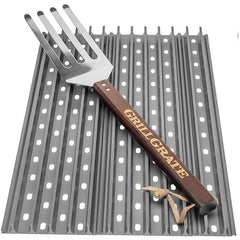 GrillGrate 2-Panel Replacement Grill Grate Set For Weber Genesis Gas Grills With Grate Tool