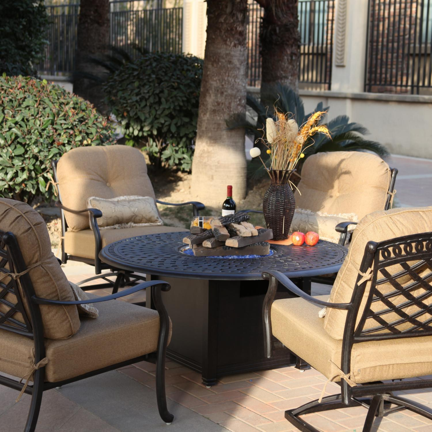 Darlee Sedona 5 Piece Cast Aluminum Patio Fire Pit Conversation Seating Set - Mocha