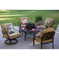 Darlee Elisabeth 5 Piece Cast Aluminum Patio Fire Pit Conversation Seating Set - Fire Pit BBQ Table With Ice Bucket Insert