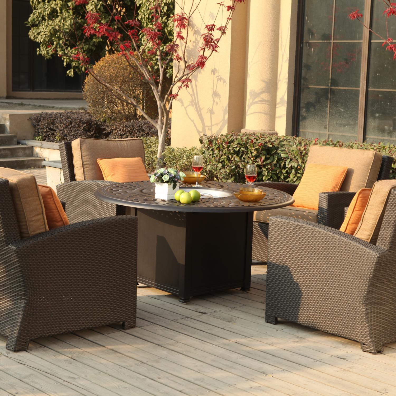 Darlee Vienna 5 Piece Resin Wicker Patio Fire Pit Conversation Seating Set