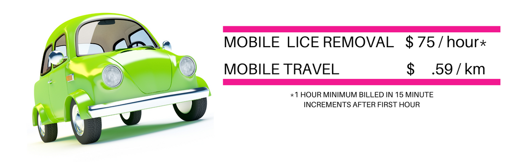 Lice Removal Service $75.00 Per Hour  with 1 Hour Minimum Mobile Travel $ .59 Per Kilometer