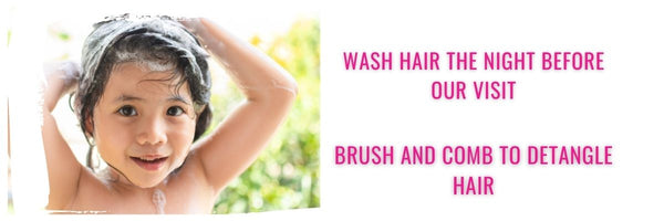 Preparing for a head lice treatment you must wash and condition your hair then brush your hair to remove tangles