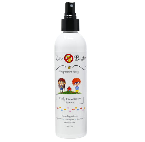 Lice Buster Head Lice prevention spray. Peppermint and lavender 8oz bottle all natural ingredients safe and effective lice repellent spray