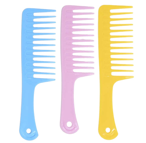 Plastic wide tooth detangle comb comes in pink, blue and yellow