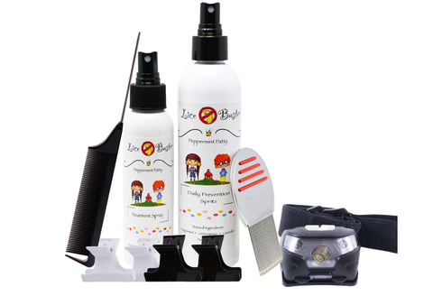 Lice Buster head lice treatment kit includes Lice Treatment shampoo head, lice prevention spray, butterfly clips, headlight, terminator lice and nit comb, tail comb
