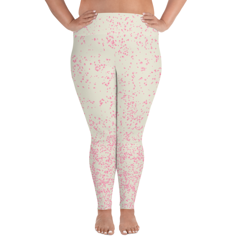 Sakura Beige All-Over Print Plus Size Leggings
