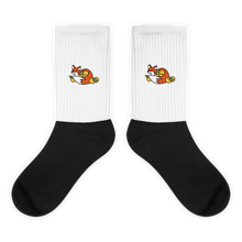 Load image into Gallery viewer, Foxy Embroidered - Black Foot Sublimated Socks