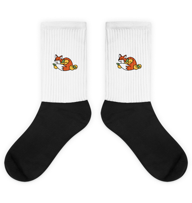 Foxy Embroidered - Black Foot Sublimated Socks
