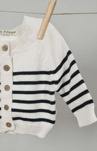 Load image into Gallery viewer, Striped Cardigan - Cotton - Ivory & Graphite
