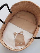 Load image into Gallery viewer, 74 x 43 cm - Linen Fitted Sheet to fit our Moses Basket Mattress - Sand
