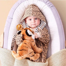 Load image into Gallery viewer, Cozy Hooded Wrap - Leopard & Black Stripes
